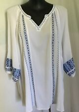"""AUTOGRAPH WHITE & BLUE """"EMBROIDERED"""" 3/4 SLEEVE SHIRT TOP  SZ 22-NEW JUST IN!!"""