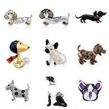 Fashion Cute Enamel Rhinestone Crystal Dog Animal Brooch Pin for Women Jewelry