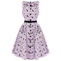 Voodoo Vixen Kitty Cat Kitsch Lilac Keyhole 1950s Retro Vintage Flared Dress