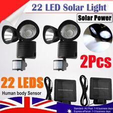 2Pcs 22 LED Solar Power Dual Light Flood Lamp Security Garage Motion Sensor Out