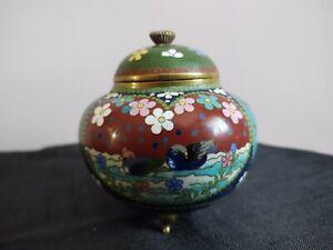 Antique Meiji Period Japanese Cloisonné Pumpkin Shaped Ginger Jar Waterfowl