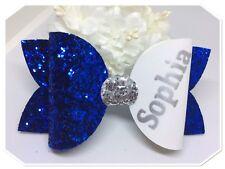GRANDE royal blue personalizzato per capelli Molletta/Scuola Capelli Bow/Glitter per Capelli con Fiocco
