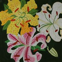 Needlepoint HandPainted Dede LILIES Giant 14x14