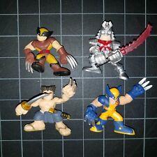 Superhero Squad SHS Lot 4 Wolverine Yellow Blue, Brown, No shirt, Silver Samurai