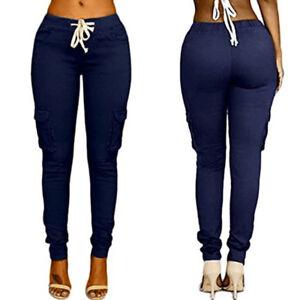 Ladies Casual Stretch Drawstring Plain Combat Pants OL Work Leggings Trousers