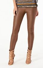 Hale Bob Brown Leggings Embroidered Faux Leather XS NWT 4ECL8197