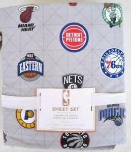 Pottery Barn Teen NBA Eastern Conference Queen Sheet Set 4 pcs Cotton Basketball