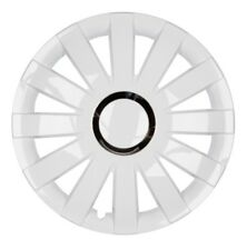 4x Premium Diseño Tapacubos Kit pintado 14 pulgadas Blanco Cromo Anillo