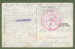 WW1 British Expeditionary Force 125, Egypt 1915. Rare Censor Cancellation.