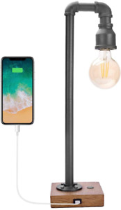 Industrial Table Lamp with USB Charging Port, 3 Way Dimmable Touch Control Bedsi