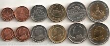 THAILAND COMPLETE FULL COIN SET 25+50 Satang 1+2+5+10 Bath 2008- UNC LOT of 6