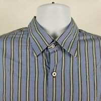 Peter Millar Mens Blue Green Brown Check Plaid Dress Button Shirt Sz Large L
