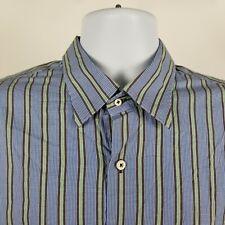 Peter Millar Mens Blue Green Brown Check Plaid Dress Button Shirt Sz Large L