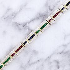 """14K Oro Rubino Zaffiro Smeraldo e Diamante Bracciale 7.5 """" Lungo"""