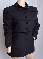 Rena Lange 90% CASHMERE Wool Black Velvet Trim Blazer Jacket 40