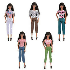 5 Set Casual Fashion Clothes Blouse Gift Top Pants Trousers Outfits Barbie