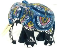 Elephant art Figure carved Wood Multi Color & Black Hand Painted Wooden Tusks