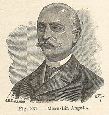 B1446 Angelo Moro-Lin - Incisione antica del 1928 - Engraving