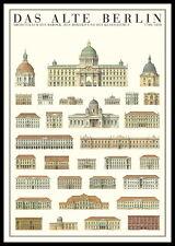 Il vecchio BERLINO poster stampa d'arte immagine storicamente nel quadro in alluminio 100x70cm