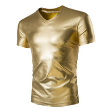 Fashion Mens Metallic Shiny Short Sleeve Slim Fit Tee Shirts Casual T-Shirt Tops