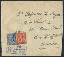 Uk Gb Turkey 1920 British Po Constantinople Registered To Us Reduced See Scan