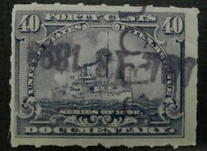 1898 40c Used Documentary Revenue Stamp; probably #R170; Good Condition