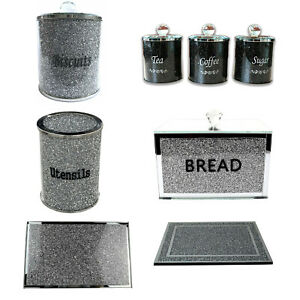 Crushed Diamond Crystal Tea Coffee Sugar Canisters Jars Sparkly Bling Sets