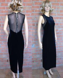 VTG 80s Black Sheer Mesh Net Bling Rhinestone Bandage Formal Cocktail Prom Dress