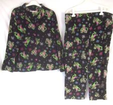 e8a480c04b9 Disney Muppets Kermit Women Fleece Pajamas Black 2X Two Piece Set Winter  CB15V