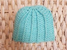 Turquoise Baby Hand Crocheted Wool Boys Hats Blue - 6-12 months