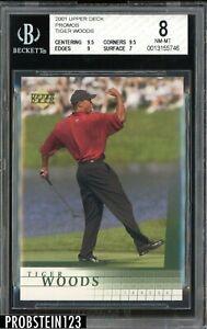 2001 Upper Deck Golf Promo Tiger Woods RC Rookie BGS 8 w/ (2) 9.5's