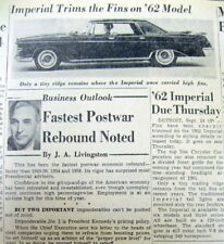 1961 newspaper w 1st view ofThe 1962 CHRYSLER IMPERIAL automobile w NO TAIL FINS