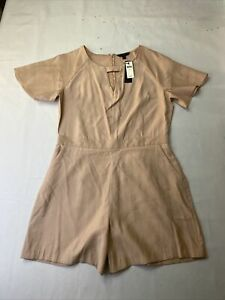 Banana Republic Romper Dusty Pink Keyhole Pockets Flutter Sleeve 8 NWT Tailored