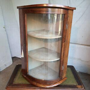 antique,georgian,mahogany,inlaid,small,bow front,glazed,corner cabinet,shelves,