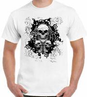Skulls T-Shirt Three Mens Motorbike Bike Biker Motorcycle Gothic Tattoo