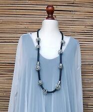 LAGENLOOK AMAZING QUIRKY GERMAN LONG PENDANT NECKLACE RUBBER + METAL