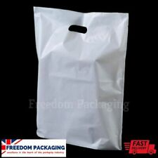 More details for carrier bags white patch handle  gift retail shopping plastic polythene poly