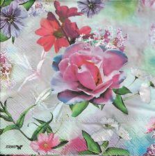 2 Serviettes en papier Rose Féérique Decoupage Paper Napkins Flower