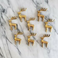 Lot of 8 Pottery Barn Brass Reindeer Place Card Holders - in Box