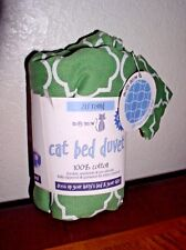 "Molly Meow 20"" Round Cat Bed Duvet - includes catnip pouch - Green - New"