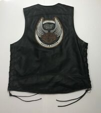 Harley Davidson 105th Anniversary Leather Vest Sz XL *HUGE PATCH*