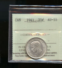 1941 Canada 25 Cents ICCS Certified AU55 DCB153