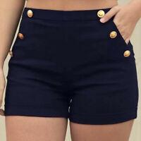 Plus Size Women Casual Zipper Elastic Band Hot Pants Lady Summer Shorts Trouser