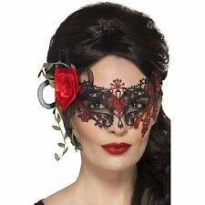 Day of the Dead Metal Filigree Eyemask Roses Mask Womens Fancy Dress Costume