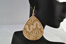 Cream Fabric & Gold Tone Drop Earrings