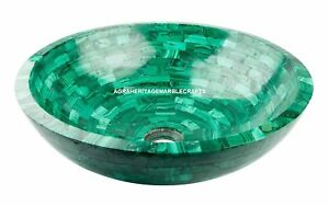 "18"" Exclusive Green Marble Washbasin Natural Stone Sink Random Art Home Decor"
