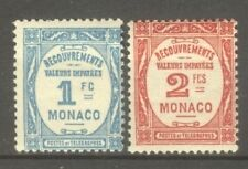 """MONACO STAMP TIMBRE TAXE N° 27/28 """" 1F BLEU CLAIR + 2F ROUGE 1932 """" NEUFS xx TTB"""