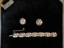 "Vintage 60s Trifari parure Gold  clear rhinestone bracelet 6/8"" earrings SIGNED"