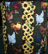 Round Rooster & Sunflowers Quilted Fabric Cover for NuWave Infrared Oven NEW