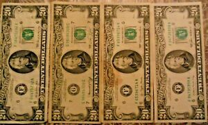1969, 1974, 1977, 1985 $20 United States Federal Reserve Notes: Lot of 4 Notes